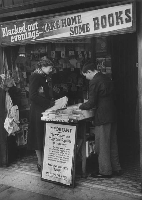 Bookshops did a good trade and when shops were bombed, tables were set up on the pavement. 1940