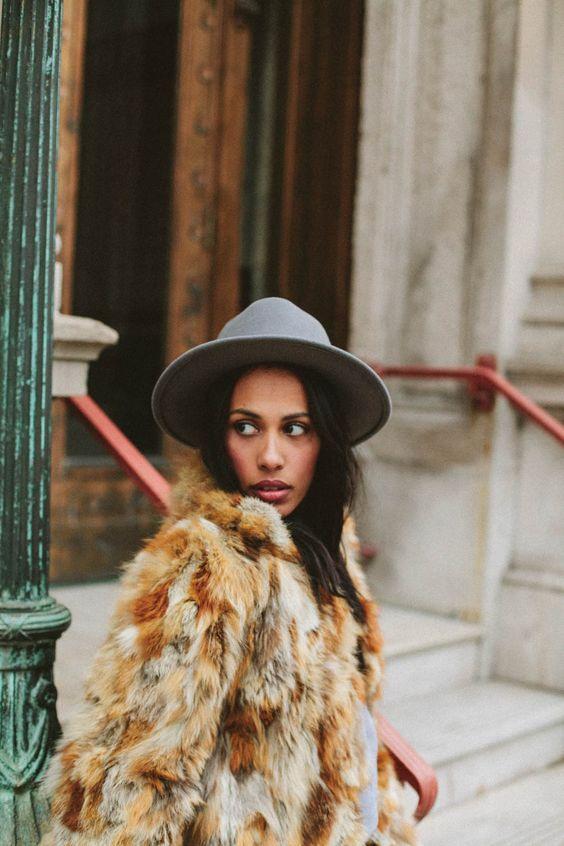 Fur + hat = cozy goodness.