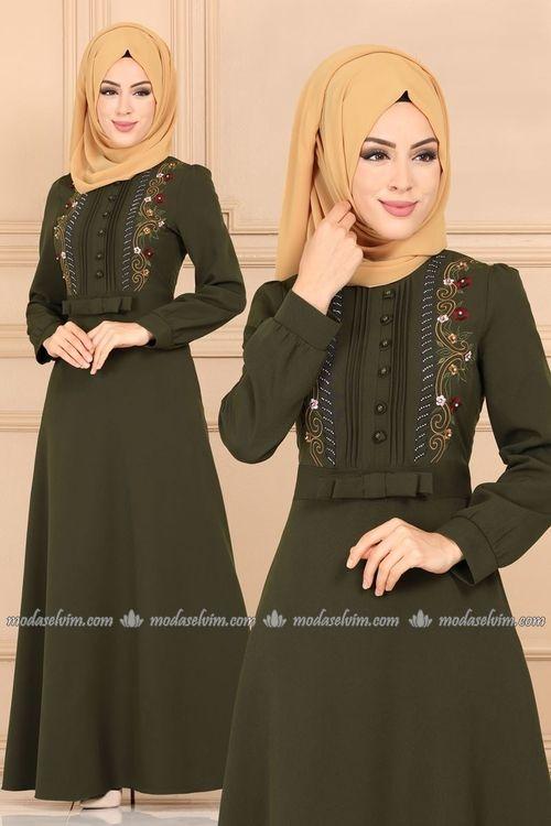 Modaselvim Elbise Fiyonk Detayli Nakisli Elbise 9397w153 Haki Elbiseler Bluz Kiyafet Elbise