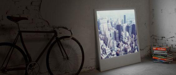 polaroid-shaped wood frame with LED light for large photos.