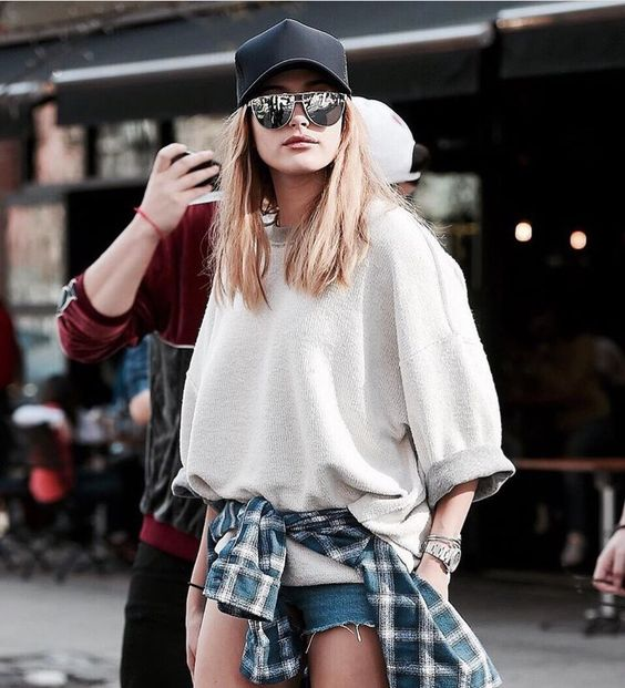 Hailey Baldwin in Fear of God and James Perse