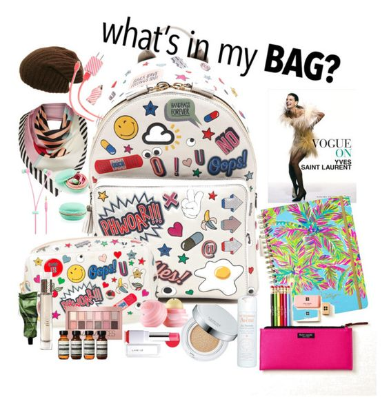 """""""What's in my bag : travel backpack"""" by miranti-nathasia-putri ❤ liked on Polyvore featuring Anya Hindmarch, Dot & Bo, Lilly Pulitzer, Kate Spade, Eos, Laneige, Maybelline, Burberry, Aesop and Lulu Guinness"""