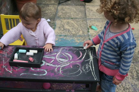 DIY Magnetic Chalkboard Table by theimaginationtree #DIY #Magnetic_Chalkboard #Kids #theimaginationtree