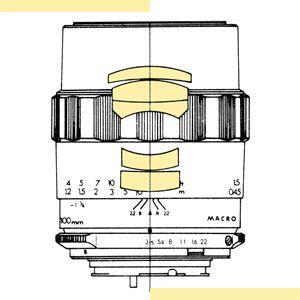 MINOLTA 100mm 1:3.5 Macro (5 Linsen / 4 Glieder) Fassung: MC-II (1971)