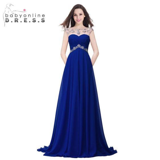 100% Amostras Reais Em Estoque Azul Royal Amarelo Vermelho 2016 Cap Manga Frisado Chiffon vestido de Noite Vestido de Festa do Assoalho-Comprimento vestidos Longos de Baile vestido