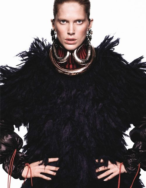 timeless-couture:  Tribal Iselin Steiro photographed by David Sims forVogue Paris October 2013