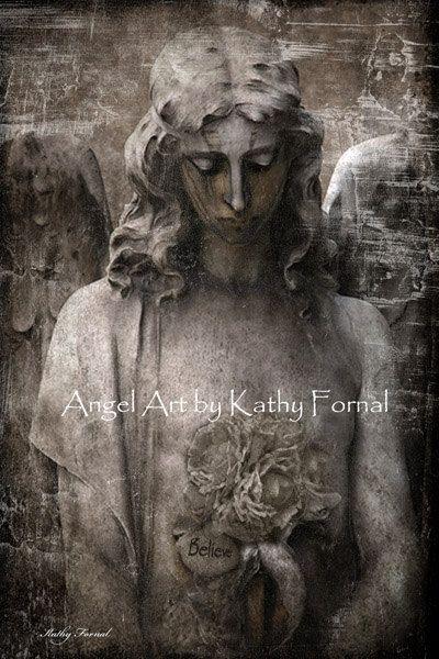 "Gothic Angel Photography ,Surreal Gothic Angel Art Photo, Haunting Sad Angel, Eerie Gothic Angel, ""Believe"" Fine Art Photograph 8"" x 12"""