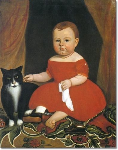 American School - Young Child With Cat - Approximate Original Size - 25x31 Painting: