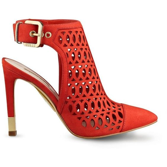 GUESS Venilia Laser-Cut Booties ($110) ❤ liked on Polyvore