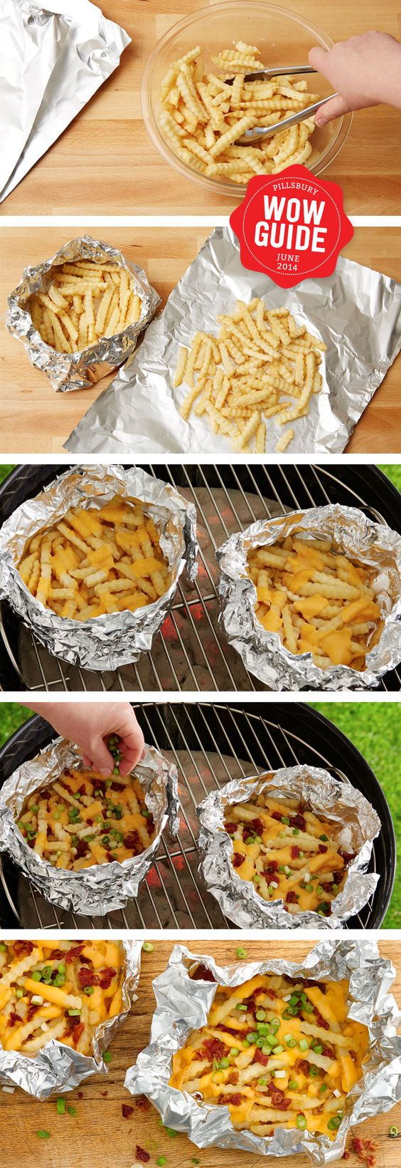 Cheesy delicious french fries made in a foil pack on the grill - pinterest: @xpiink ♚