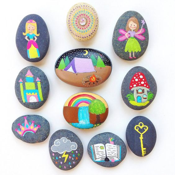 Story Stones and Painted Rocks / The Princess, Fairy and Castle Toy and Game Princess Birthday Party