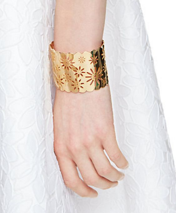 Perforated Gold Cuff in Daisy Pattern