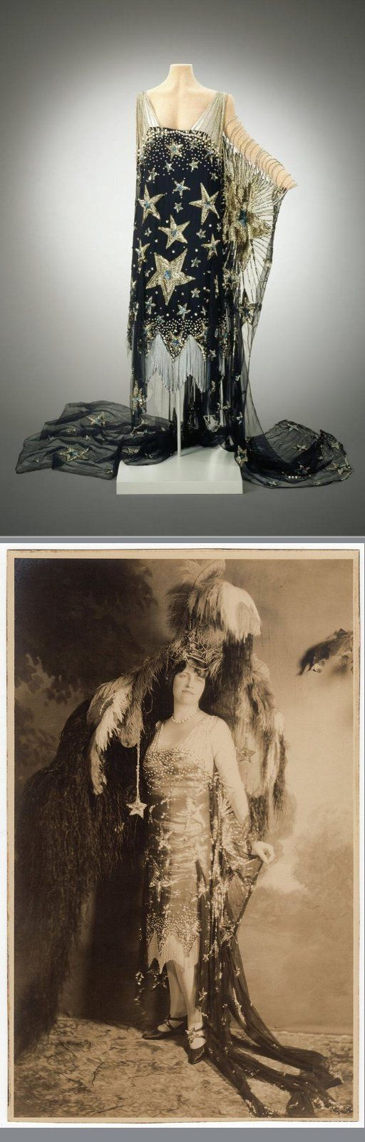 Silk crêpe starry night costume worn by Marjorie Merriweather Post at the Everglades, circa 1920s