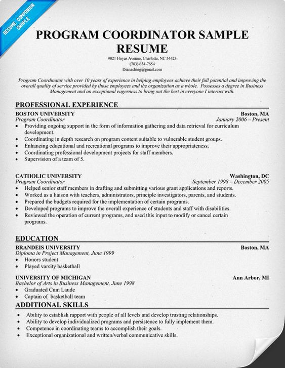 program coordinator resume template resumecompanion