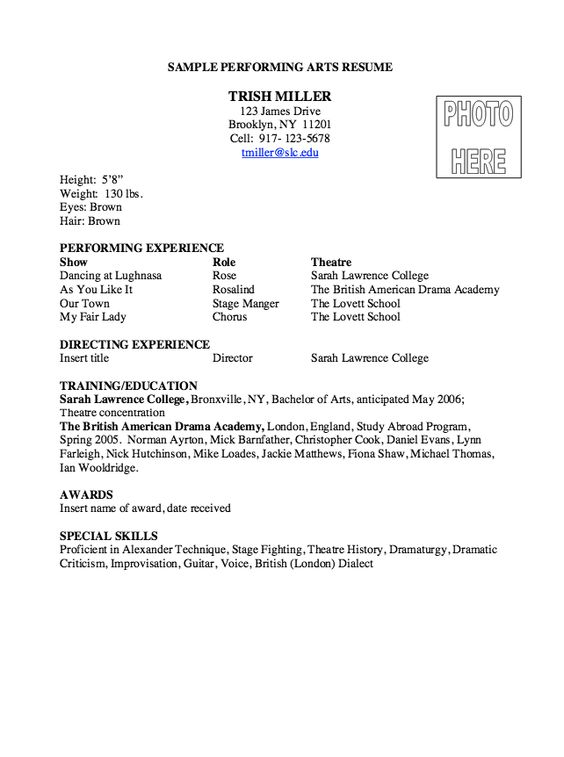 Performing Arts Resume Sample - http\/\/resumesdesign - petroleum supply specialist sample resume