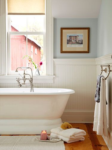 Bathroom bathroom makeovers and tubs on pinterest for Country living bathroom designs