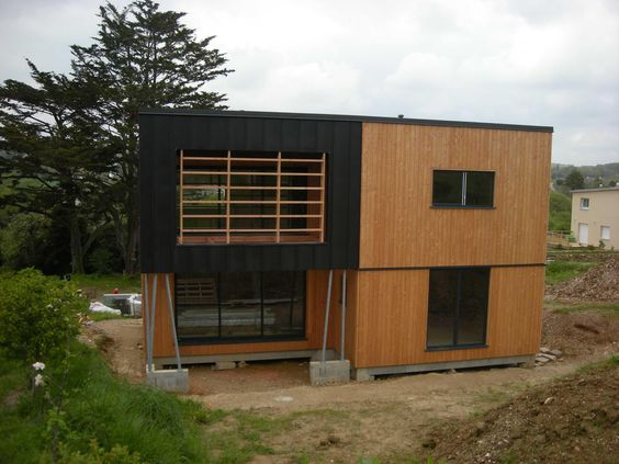 maison ossature bois bardage douglas zinc anthracite. Black Bedroom Furniture Sets. Home Design Ideas