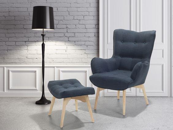 sessel dunkelblau - ohrensessel - relaxsessel - stuhl + hocker