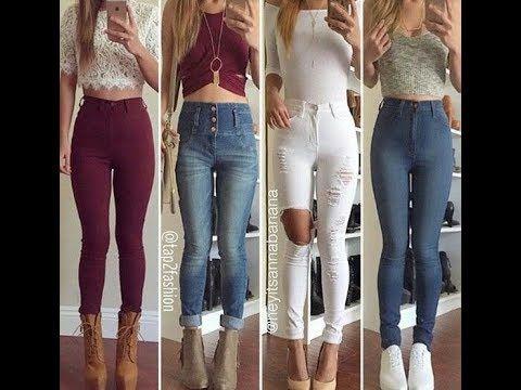 Outfits Con Pantalon De Tiro Alto 2018 Youtube Fashion Skinny Jeans Outfits