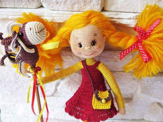 Pippi doll Pippi Longstocking Knitted doll Аrt doll Handmade doll Knitted crochet doll Doll birthday gift for girls Gift for girl Decor doll by PoLesheke on Etsy