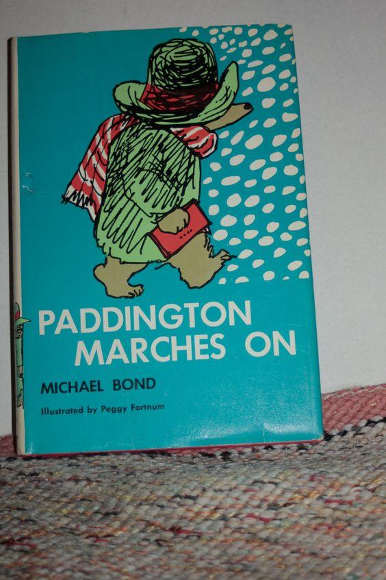 Paddington Marches On / Paddington Bear printed 1965.  Etsy.
