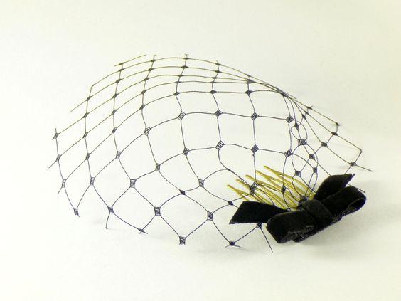 14,-  /  Mini-Schleier: Schwarz Samtschleife Hutnetz von Corpus delicati auf DaWanda.com
