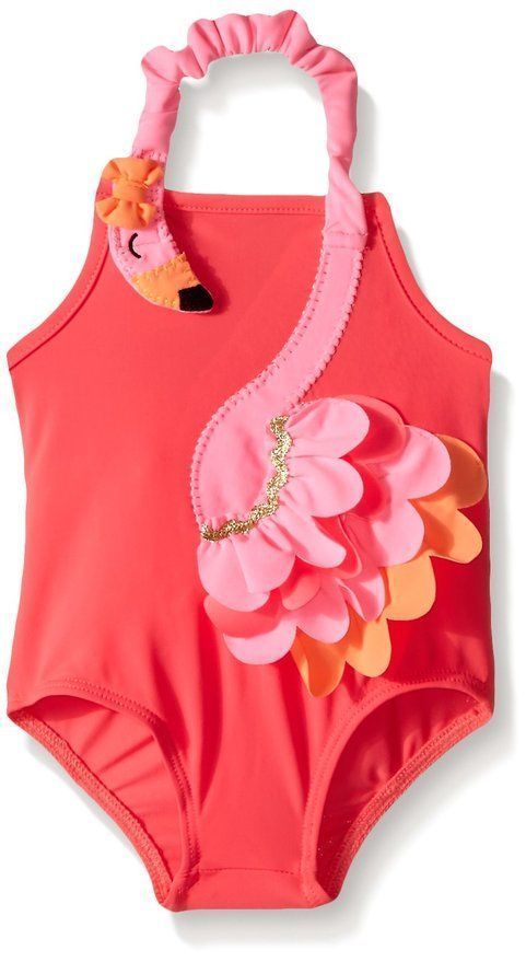 Nylon spandex bathing suit features layered flamingo wrap around appliqué with elastic neckline. Toddler size 2T to 5T: NO mesh bum ruffles. 5T: 42'' - 44''; 38-42 lbs. Mud Pie Size Chart Guide for Clothing:AGE HEIGHT WEIGHT.
