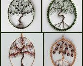 Custom Tree of Life pendant (round) wire-worked and beaded if desired. £26.00, via Etsy.