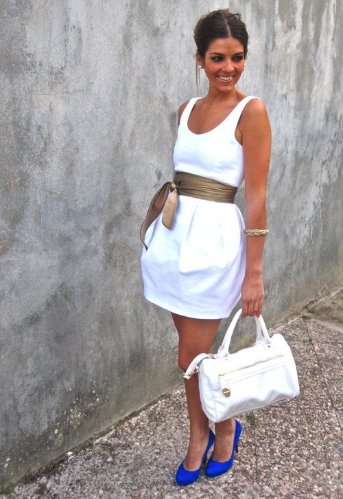 Little White Dress- Zara in Belts - love the blue shoes to add a ...