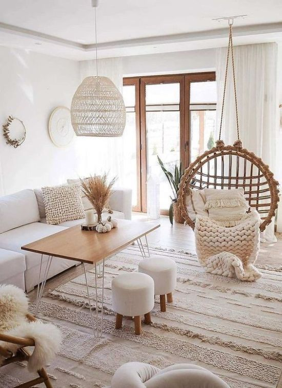 Clear White Boho Living Room Decor With A Round Rattan Chair In 2020 Living Room Decor Apartment Living Room Decor Cozy Boho Living Room