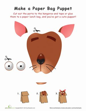 Kangaroo paper bag puppet paper kangaroos and projects for Kangaroo puppet template