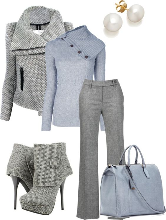 """Untitled #24"" by courtenayscerni ❤ liked on Polyvore too much grey for one outfit hit would make great parts to other outfits"