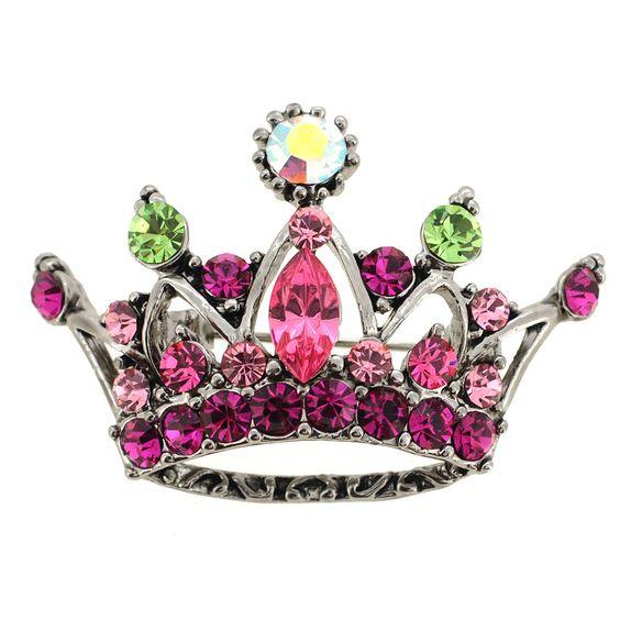 Pink Crystal Crown Pin Brooch