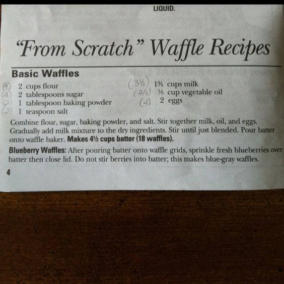 Waffle recipe. Can't wait to try my new waffle maker!!! :)