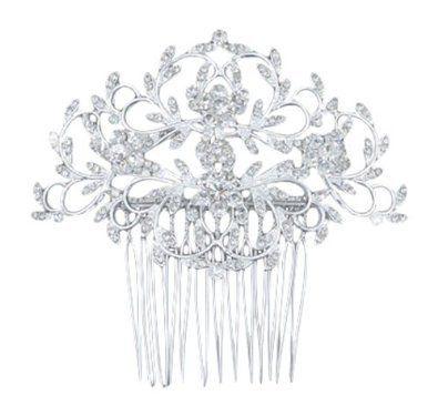 Silber Art Deco Braut Kristall Strass Blumen Blume Hochzeit Abschlussball Haarspange Haarkamm (10cm x 9cm) mit PreciousBags Schutz-Staubbeutel - http://schmuckhaus.online/preciousyou/silber-art-deco-braut-kristall-strass-blumen-10cm