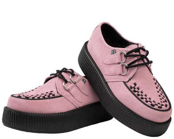 Baby Pink Suede Viva Mondo Creepers | T.U.K. Shoes