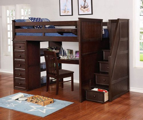 Allen House Study Loft Bed With Stairs Full Size Weathered Espresso Loft Bed Bed Desk Twin Size Loft Bed Full size bed with desk