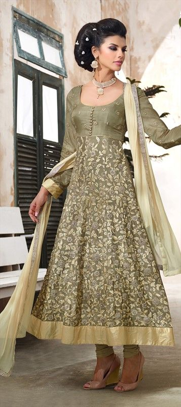 416657: Green color family unstitched Anarkali Suits.