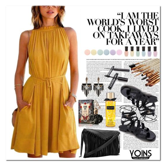 """WIN YOINS YELLOW SWING DRESS ♥"" by av-anul ❤ liked on Polyvore featuring moda, Deborah Lippmann, Anna Sui, Lulu Frost, yoins, yoinscollection i avanul"
