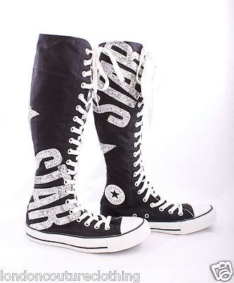 NWOB CONVERSE CHUCK TAYLOR ALL STAR IN GLITTER KNEE HIGH TENNIS ...