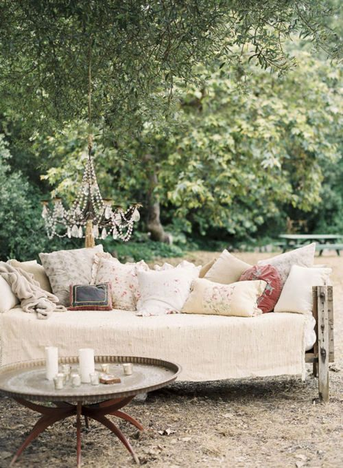shabby outdoor retreat with chandelier... <3