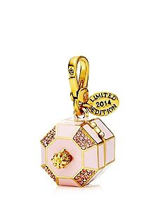 "MUSIC BOX CHARM $58.00 STYLE NUMBER: YJRU7598   Add to wish listADD TO BAG Special Offer Winter Sale: 40% Off Full-Price DESCRIPTION Music truly makes the world go 'round. Like your music box when you were little, our charm features a prima ballerina and a pearlized chain. Juicy logo on lobster clasp. 1.75"" L x 1.04"" W x 0.98"" H Imported Cz/Brass/Glass"