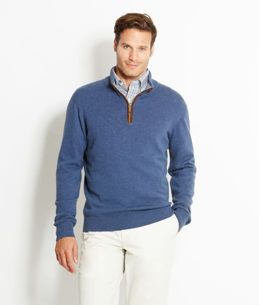 Round Hill Pima Cotton 1/4-Zip Sweater - Vineyard Vines love the detail inside the collar