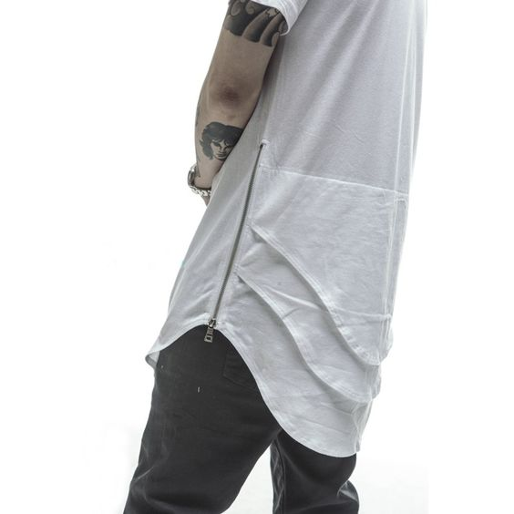 side zipper 2015 new arrival long extended hip hop mens top tees high street fashion swag tshirt t shirt urban clothes clothing