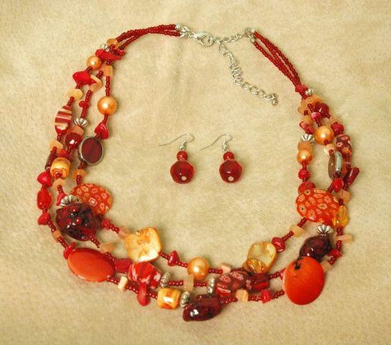 "$22 ES484 - 3 Strand Coral, Glass Shell & Howlite Turq. Set 17-21"""