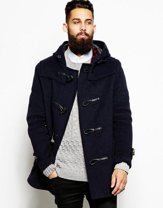 €446, Dunkelblauer Düffelmantel von Gloverall. Online-Shop: Asos. Klicken Sie hier für mehr Informationen: https://lookastic.com/men/shop_items/155806/redirect