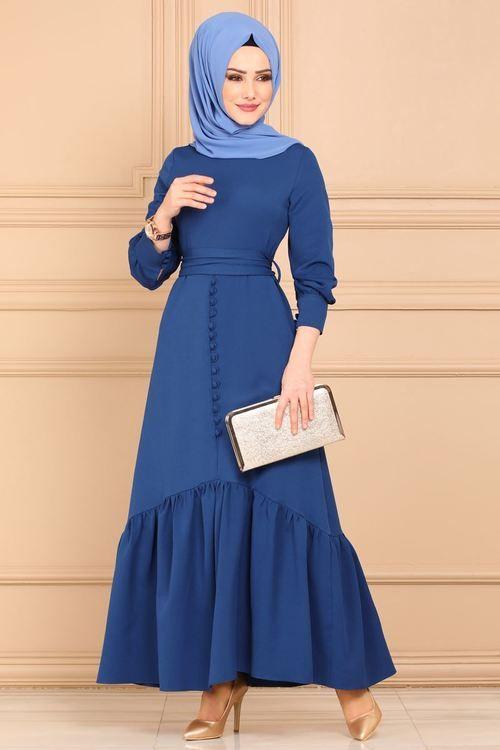 Modaselvim Elbise Aksesuar Dugmeli Firfirli Elbise 4165so376 Indigo Muslim Fashion Dress Muslimah Fashion Outfits Fashion Dresses