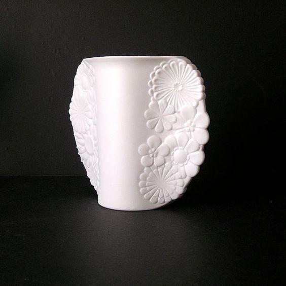 60s Rare Designer Vase Kaiser Porcelain Bisque Mid Century