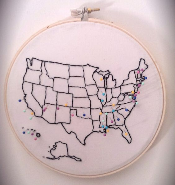 Embroidered Push Pin Map of the United by StitchesOnTheRadio, $40.00