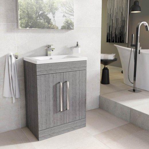 Nante 600mm Floor Standing Vanity Unit Grey Ash With Ceramic Basin Bathroom Vanity Units Furniture Vanity Units Bathroom Sink Units Sink Vanity Unit